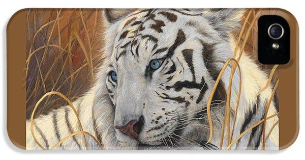 Portrait White Tiger 1 IPhone 5 / 5s Case by Lucie Bilodeau