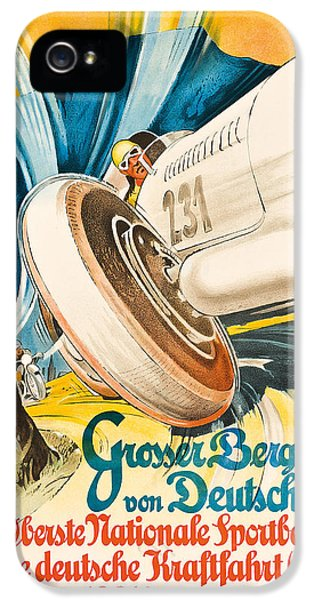German Racing Driver iPhone 5 Cases - Poster advertising the Grosser Bergpreis Grand Prix iPhone 5 Case by German School