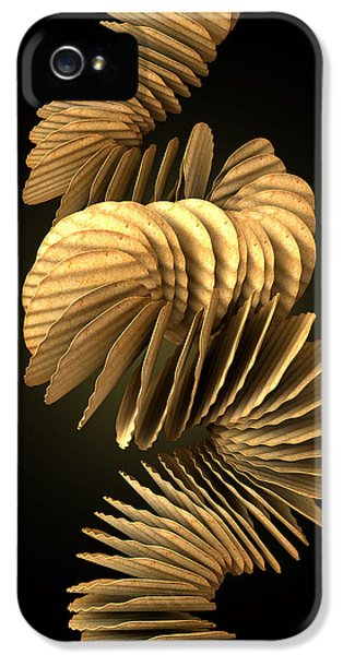 Chip iPhone 5 Cases - Potato Chip Stack Falling iPhone 5 Case by Allan Swart