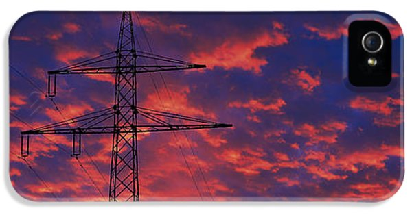 Technological iPhone 5 Cases - Power Lines At Sunset Germany iPhone 5 Case by Panoramic Images