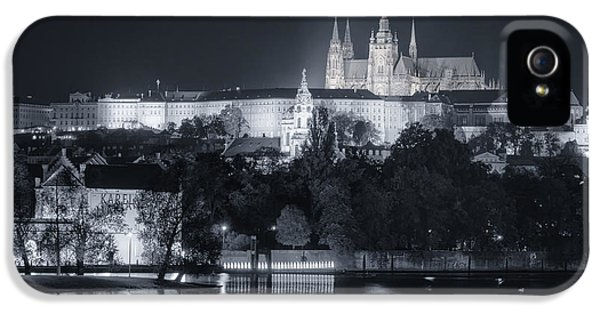Castle iPhone 5 Cases - Prague Castle at Night iPhone 5 Case by Joan Carroll