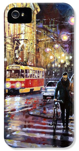 Old Tram iPhone 5 Cases - Prague Masarykovo Nabrezi Evening Walk iPhone 5 Case by Yuriy Shevchuk
