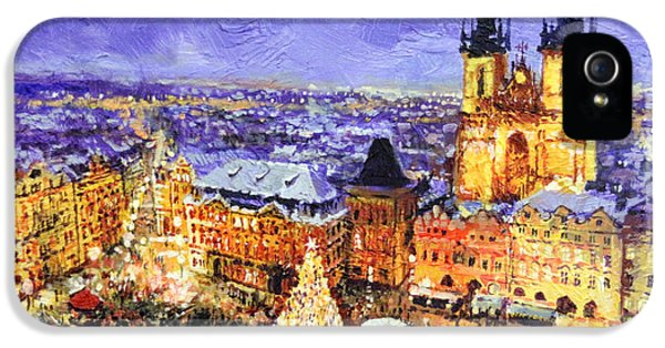 Czech Republic iPhone 5 Cases - Prague Old Town Square Christmas market iPhone 5 Case by Yuriy Shevchuk