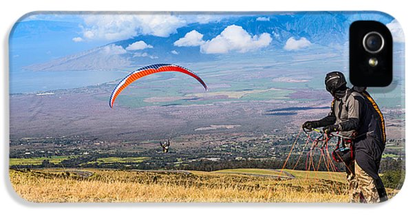 Prepper iPhone 5 Cases - Preparing for Take Off - paragliders taking off high over Maui. iPhone 5 Case by Jamie Pham