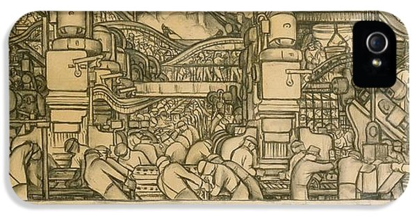 Presentation Drawing Of The Automotive Panel For The North Wall Of The Detroit Industry Mural IPhone 5 / 5s Case by Diego Rivera