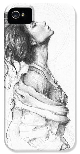 Pencil Drawing iPhone 5 Cases - Pretty Lady iPhone 5 Case by Olga Shvartsur