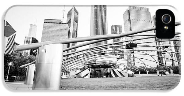 One Prudential Plaza Building iPhone 5 Cases - Pritzker Pavilion Chicago Black and White Picture iPhone 5 Case by Paul Velgos