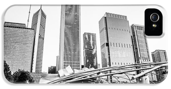 One Prudential Plaza Building iPhone 5 Cases - Pritzker Pavilion Chicago Skyline Black and White Photo iPhone 5 Case by Paul Velgos