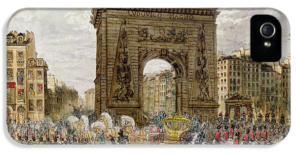 Celebration iPhone 5 Cases - Procession Of Pope Pius Vii 1742-1823 In Paris, 28th November 1804 Coloured Engraving iPhone 5 Case by French School