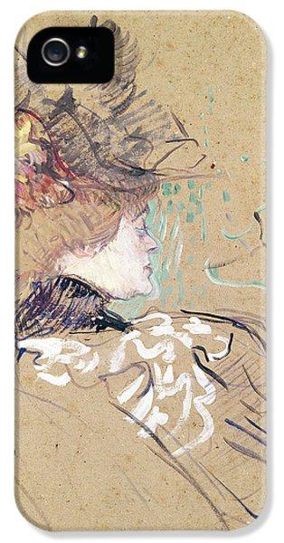 Fin De Siecle iPhone 5 Cases - Profile of a woman iPhone 5 Case by Henri de Toulouse-Lautrec