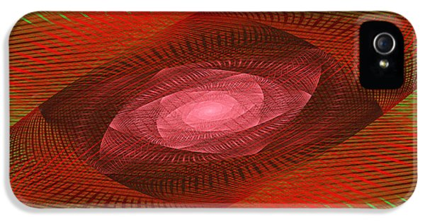 Round iPhone 5 Cases - Psychedelic Spiral Vortex Green And Red Fractal Flame iPhone 5 Case by Keith Webber Jr