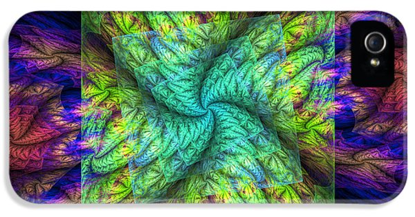 Round iPhone 5 Cases - Psychedelic Spiral Vortex Green Blue And Pink Fractal Flame iPhone 5 Case by Keith Webber Jr