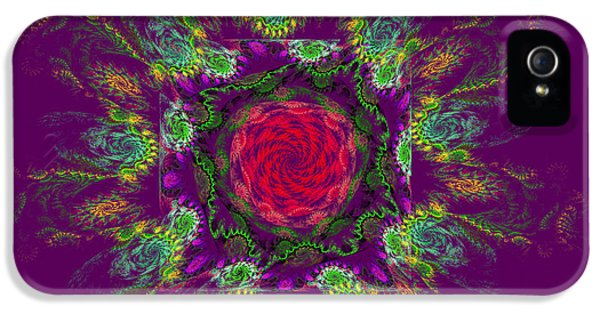Round iPhone 5 Cases - Psychedelic Spiral Vortex Purple Green And Pink Fractal Flame iPhone 5 Case by Keith Webber Jr
