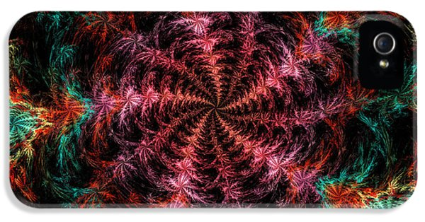 Round iPhone 5 Cases - Psychedelic Spiral Vortex Purple Pink And Teal Fractal Flame iPhone 5 Case by Keith Webber Jr