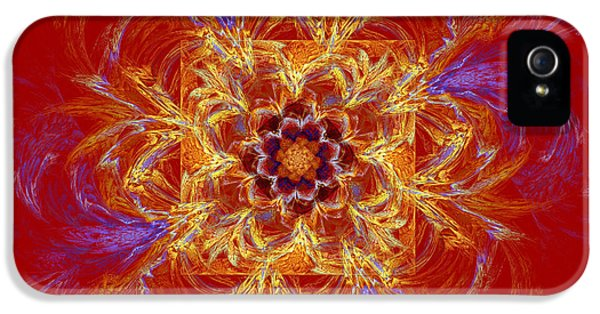 Round iPhone 5 Cases - Psychedelic Spiral Vortex Red Orange And Blue Fractal Flame iPhone 5 Case by Keith Webber Jr