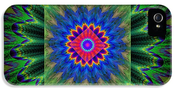 Round iPhone 5 Cases - Psychedelic Square Vortex Purple Green Blue And Red Fractal Flame iPhone 5 Case by Keith Webber Jr