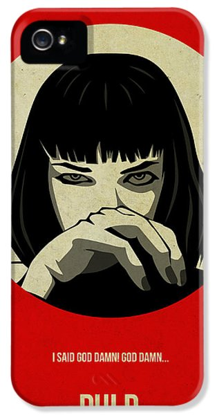 Tv Show iPhone 5 Cases - Pulp Fiction Poster iPhone 5 Case by Naxart Studio