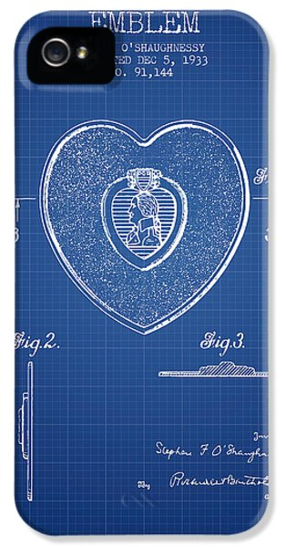 Honor iPhone 5 Cases - Purple Heart Patent from 1933 - Blueprint iPhone 5 Case by Aged Pixel