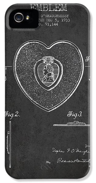 Honor iPhone 5 Cases - Purple Heart Patent from 1933 - Charcoal iPhone 5 Case by Aged Pixel