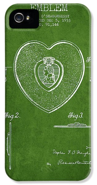 Honor iPhone 5 Cases - Purple Heart Patent from 1933 - Green iPhone 5 Case by Aged Pixel