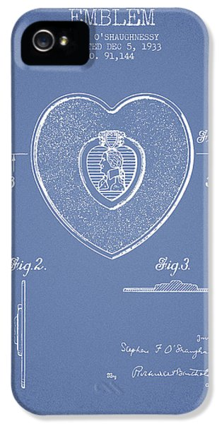 Honor iPhone 5 Cases - Purple Heart Patent from 1933 - Light Blue iPhone 5 Case by Aged Pixel