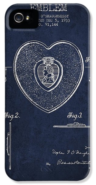 Honor iPhone 5 Cases - Purple Heart Patent from 1933 - Navy Blue iPhone 5 Case by Aged Pixel