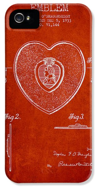 Honor iPhone 5 Cases - Purple Heart Patent from 1933 - Red iPhone 5 Case by Aged Pixel