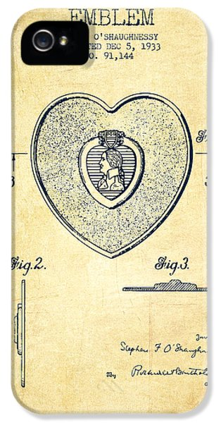 Honor iPhone 5 Cases - Purple Heart Patent from 1933 - Vintage iPhone 5 Case by Aged Pixel