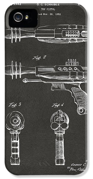 Futuristic iPhone 5 Cases - Pyrotomic Disintegrator Pistol Patent Gray iPhone 5 Case by Nikki Marie Smith