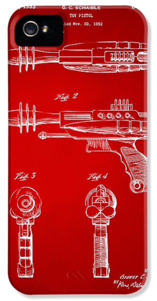 Futuristic iPhone 5 Cases - Pyrotomic Disintegrator Pistol Patent Red iPhone 5 Case by Nikki Marie Smith