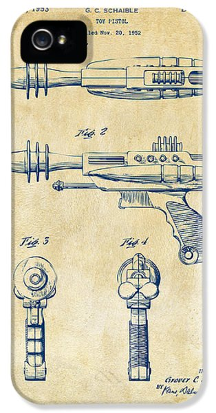 Futuristic iPhone 5 Cases - Pyrotomic Disintegrator Pistol Patent Vintage iPhone 5 Case by Nikki Marie Smith