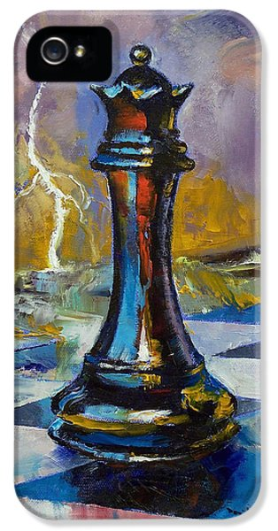 Chess Board iPhone 5 Cases - Queen of Chess iPhone 5 Case by Michael Creese