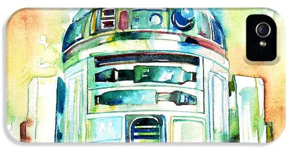 Robot iPhone 5 Cases - R2-d2 Watercolor Portrait iPhone 5 Case by Fabrizio Cassetta