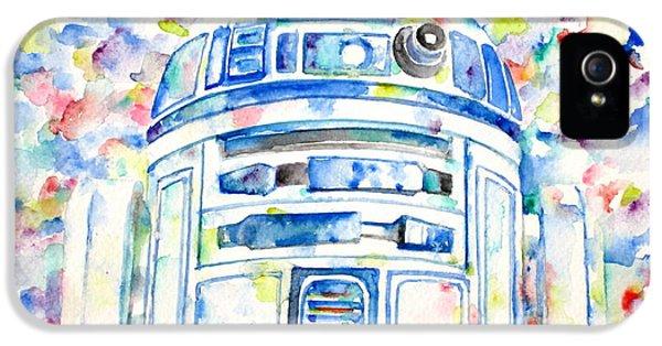Mech iPhone 5 Cases - R2-D2 watercolor portrait.1 iPhone 5 Case by Fabrizio Cassetta