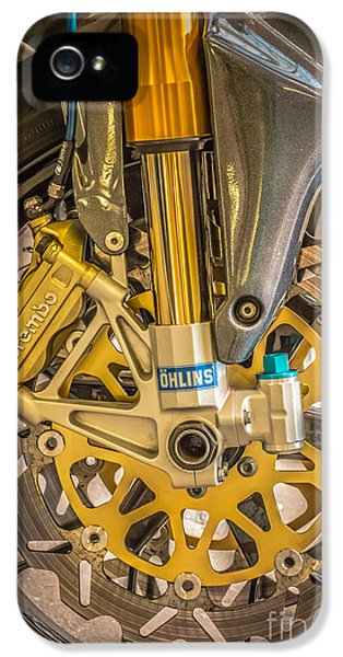 Racing Bike Wheel With Brembo Brakes And Ohlins Shock Absorbers IPhone 5 / 5s Case by Ian Monk