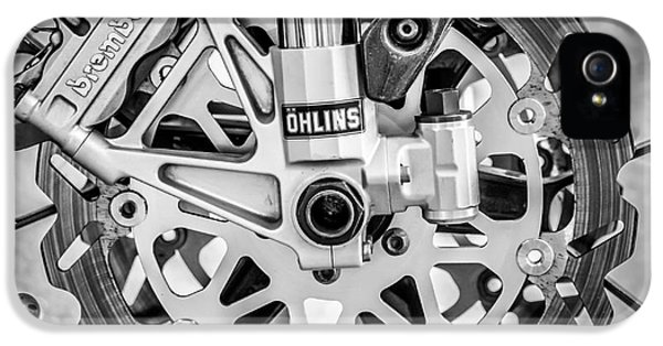 Racing Bike Wheel With Brembo Brakes And Ohlins Shock Absorbers - Square - Black And White IPhone 5 / 5s Case by Ian Monk