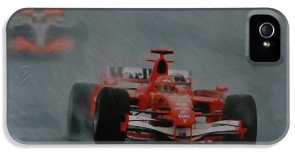 Michael Schumacher iPhone 5 Cases - Rain Master iPhone 5 Case by Roger Lighterness