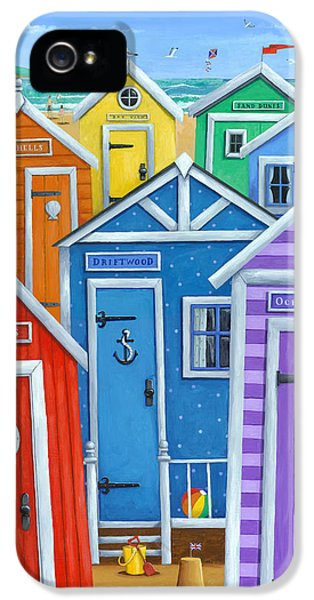 Shed iPhone 5 Cases - Rainbow Beach Huts iPhone 5 Case by Peter Adderley