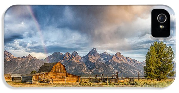 Sky iPhone 5 Cases - Rainbow on Moulton Barn - Horizontal - Grand Teton National Park iPhone 5 Case by Andres Leon