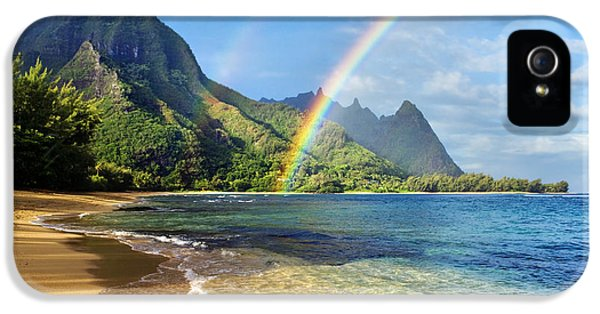 Daytime iPhone 5 Cases - Rainbow over Haena Beach iPhone 5 Case by M Swiet Productions