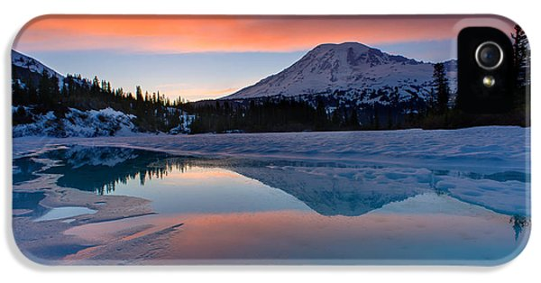 Mount Rainier iPhone 5 Cases - Rainier Snowbound Lake Sunset Skies iPhone 5 Case by Mike Reid
