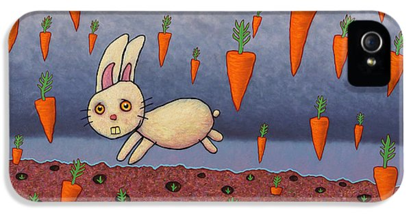 Bunny iPhone 5 Cases - Raining Carrots iPhone 5 Case by James W Johnson