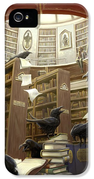 Ravens In The Library IPhone 5 / 5s Case by Rob Carlos