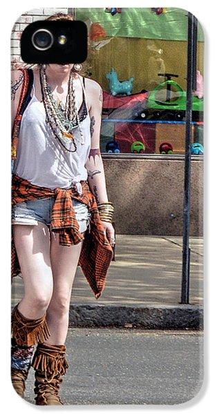 Scowl iPhone 5 Cases - Redhead Crossing Main Street iPhone 5 Case by Geoffrey Coelho