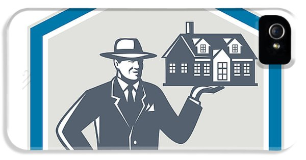 Realtor iPhone 5 Cases - Real Estate Salesman Sell House Retro iPhone 5 Case by Aloysius Patrimonio