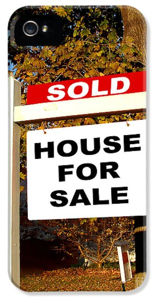 Realtor iPhone 5 Cases - Real Estate Sold and House For Sale Sign on Post iPhone 5 Case by Olivier Le Queinec