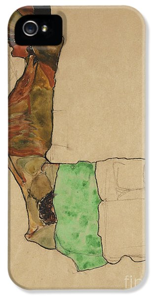 Arms iPhone 5 Cases - Reclining Male Nude with Green Cloth iPhone 5 Case by Egon Schiele