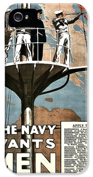 Navy iPhone 5 Cases - Recruiting Poster - Britain - Navy Wants Men iPhone 5 Case by Benjamin Yeager
