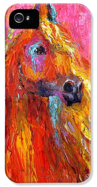 Equine iPhone 5 Cases - Red Arabian Horse Impressionistic painting iPhone 5 Case by Svetlana Novikova