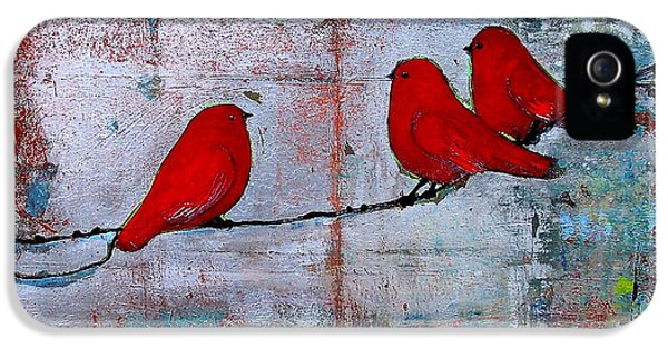 Trio iPhone 5 Cases - Red Birds Let It Be iPhone 5 Case by Blenda Studio